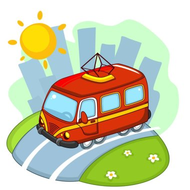 A beautiful illustration for children to study transport or design, the tram rides along the road through the city.