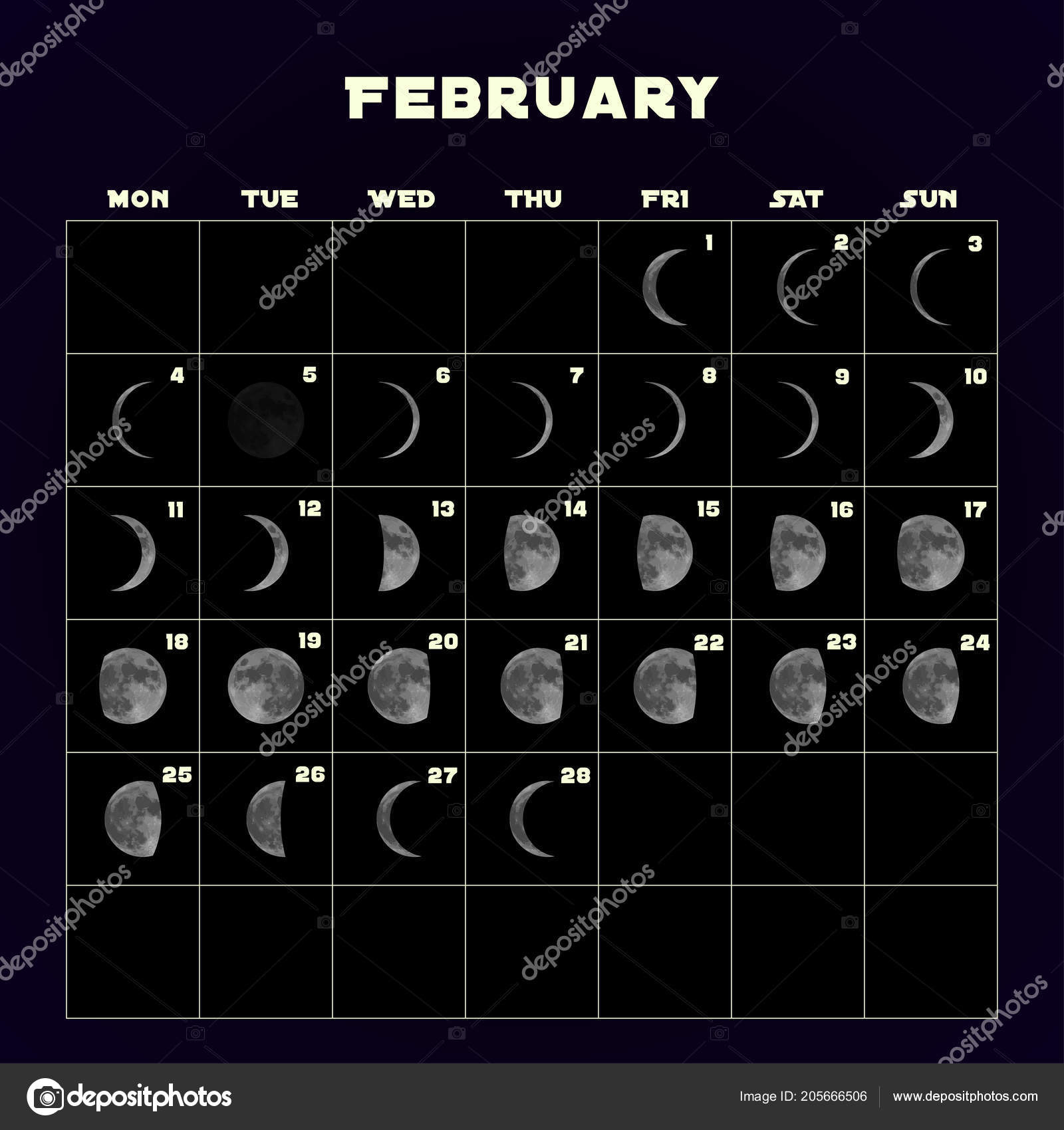 February 2019 Moon Phase Calendar Moon phases calendar for 2019 with realistic moon. February