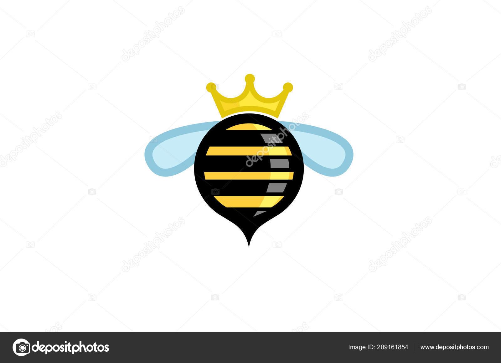 Cute Circle Bee Crown Logo Symbol Vector Design Illustration