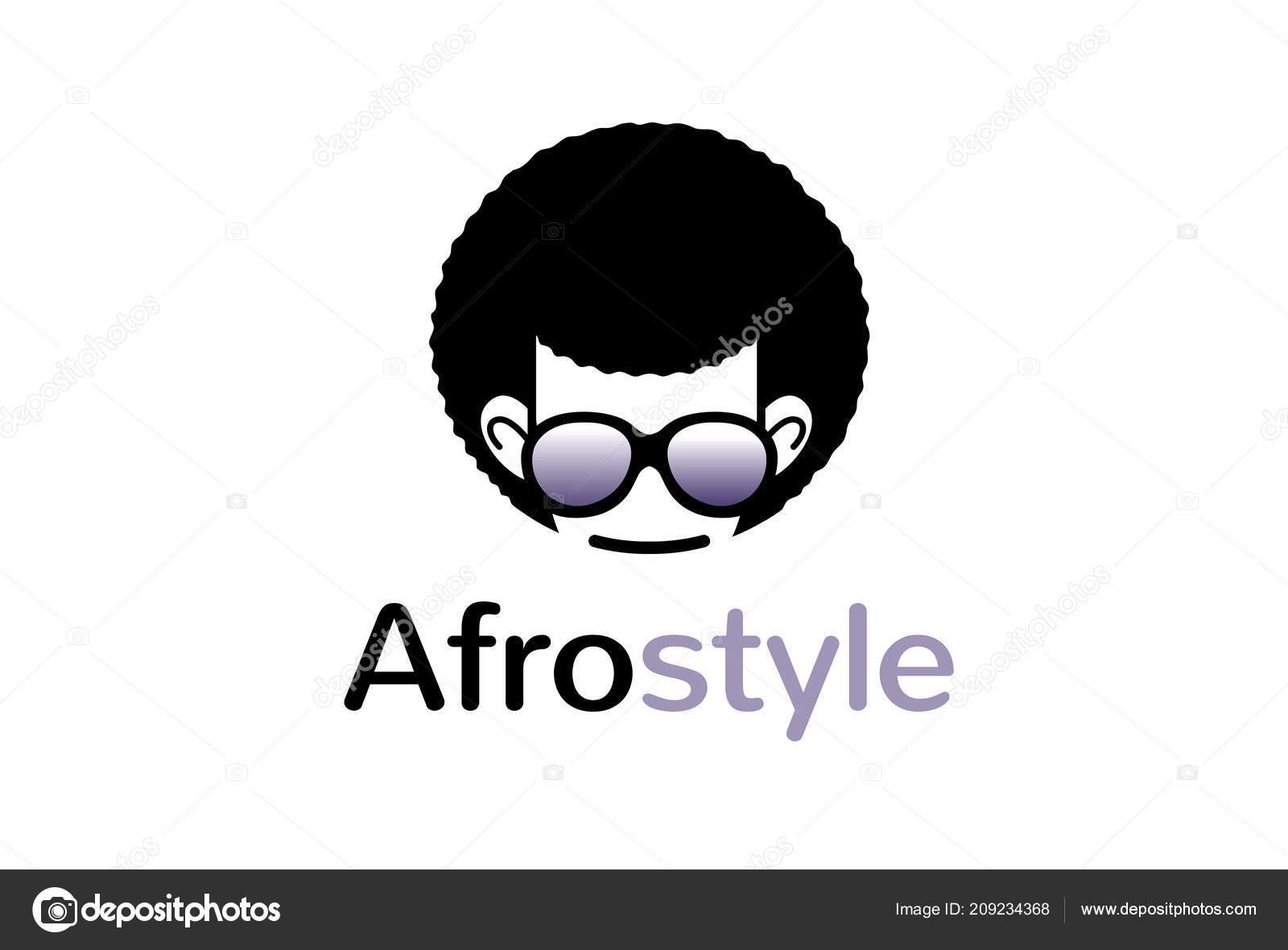 Creative Geek Afro Hairstyle Logo Symbol Design Illustration Stock