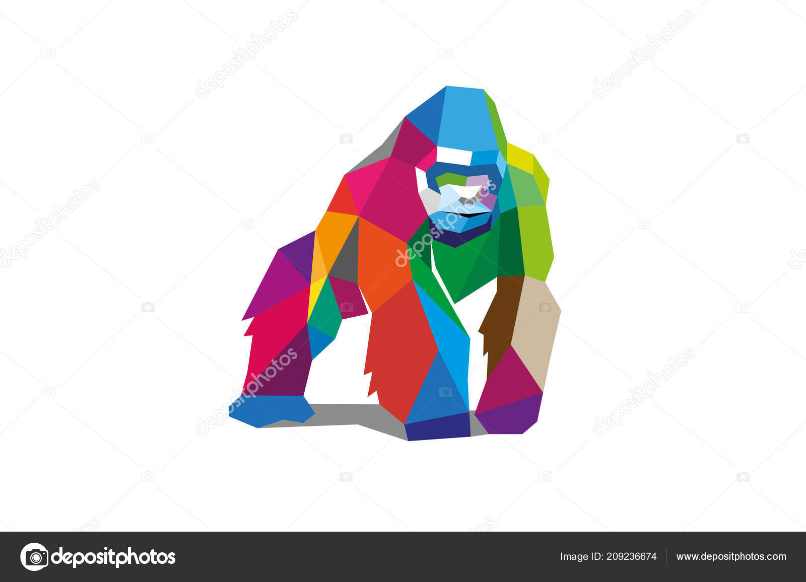 ahorrar 61312 29694 Colores Poligonal Gorila Espalda Plateada Logo Diseño ...