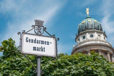 Berlin, Germany - june 2018: Gendarmenmarkt sign at historic square  in Berlin, Germany