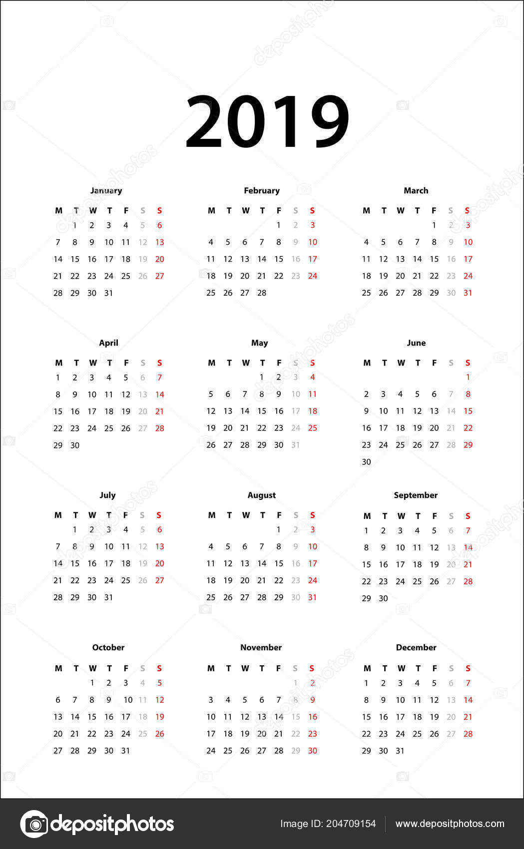 Template Calendrier 2019.Calendar 2019 Simple Calendar Template 2019 Stock Vector