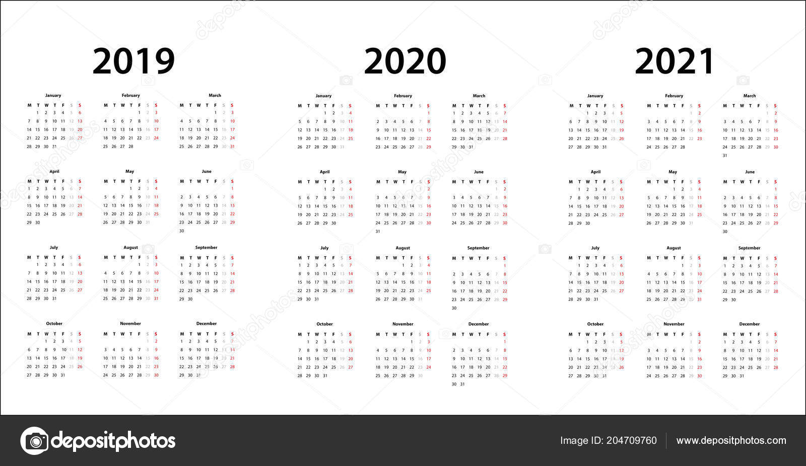 Calendario 2020 Vector Gratis.Simple Calendar Template 2019 2020 2021 Stock Vector