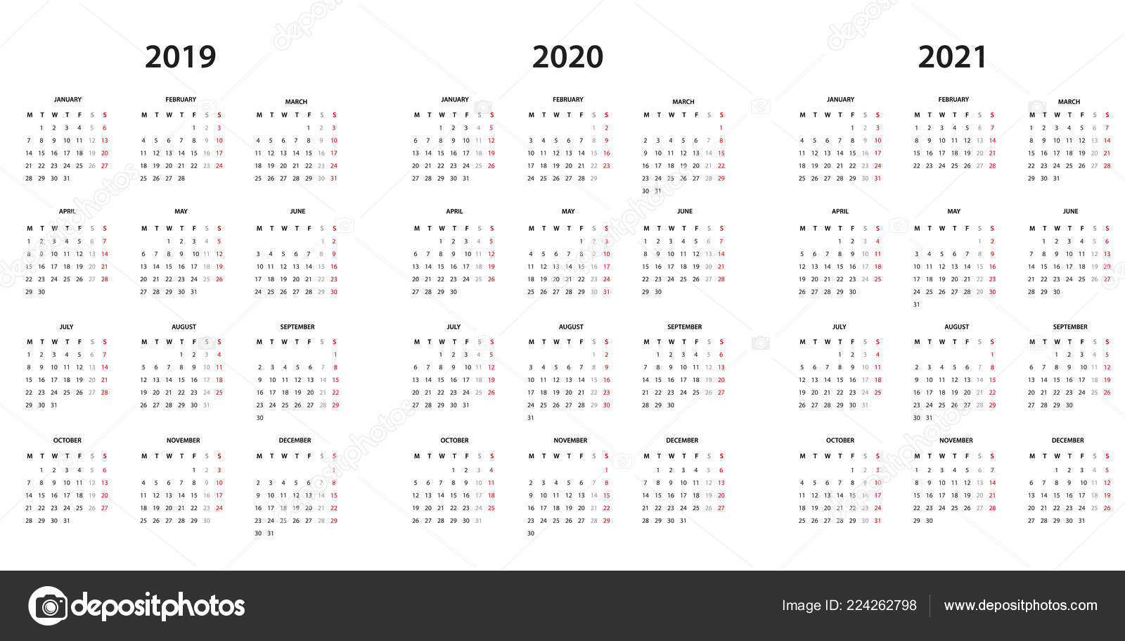 Calendrier 2020 2021.Calendar 2019 2020 2021 Simple Template Stock Vector