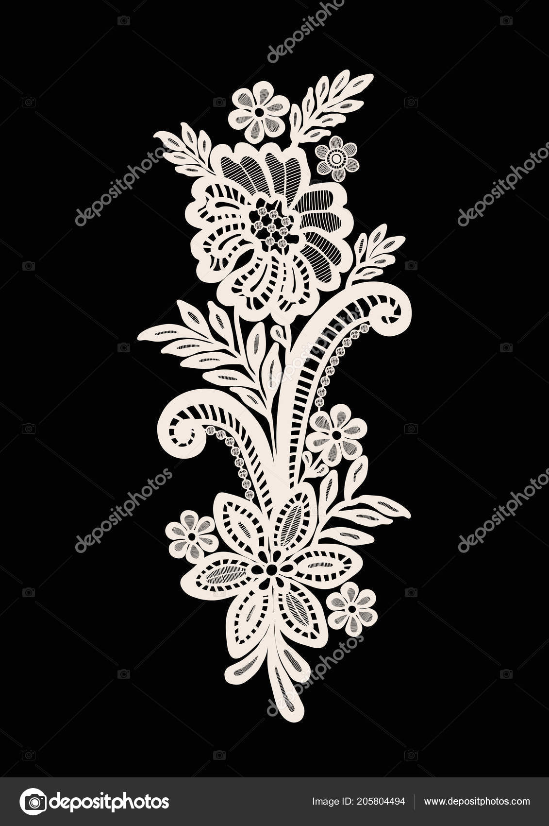 Neck Embroidery Design Lace Print Vector Black Background Stock Vector C Workingpens 205804494
