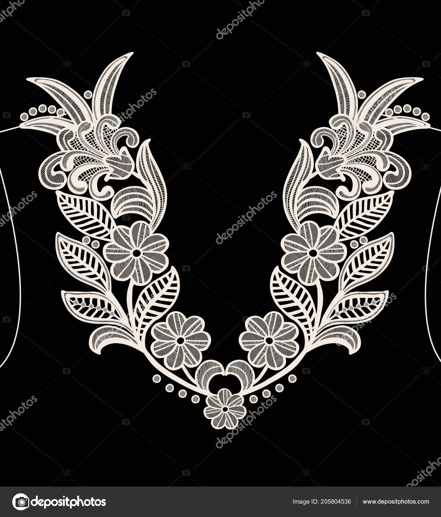 Neck Embroidery Design Lace Print Vector Black Background Stock Vector C Workingpens 205804536