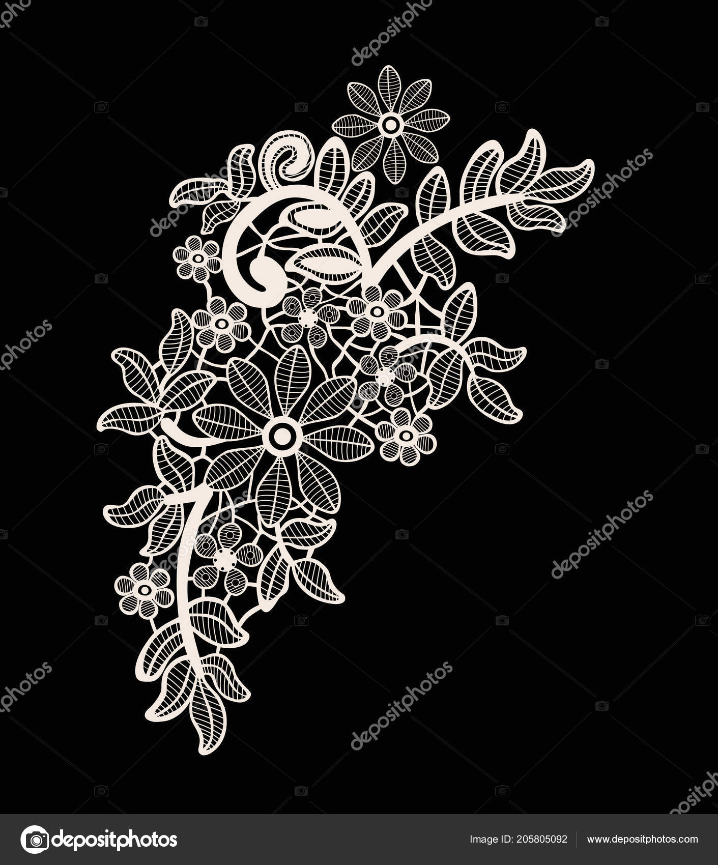 Neck Embroidery Design Lace Print Vector Black Background Stock Vector C Workingpens 205805092