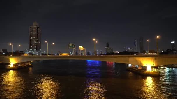 View of downtown skyscrapers, office buildings and bridge across River at night