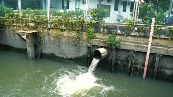 Špinavá voda protéká spádem do kanálu, nízká hladina vody