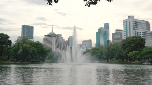 Large fountain on the skyscrapers background. Beautiful urban architecture with a large lake and green plants