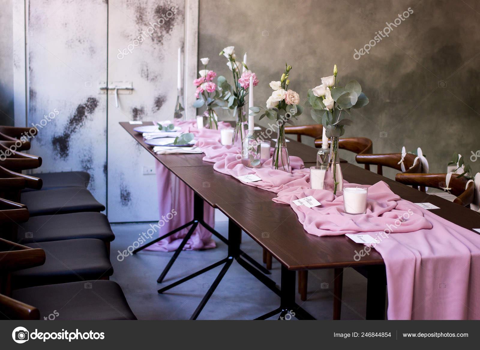 Elegant Dark Pink Wedding Banquet Table Glasses Dishes Flowers Decoration Stock Photo C Anyatachka95 Mail Ru 246844854
