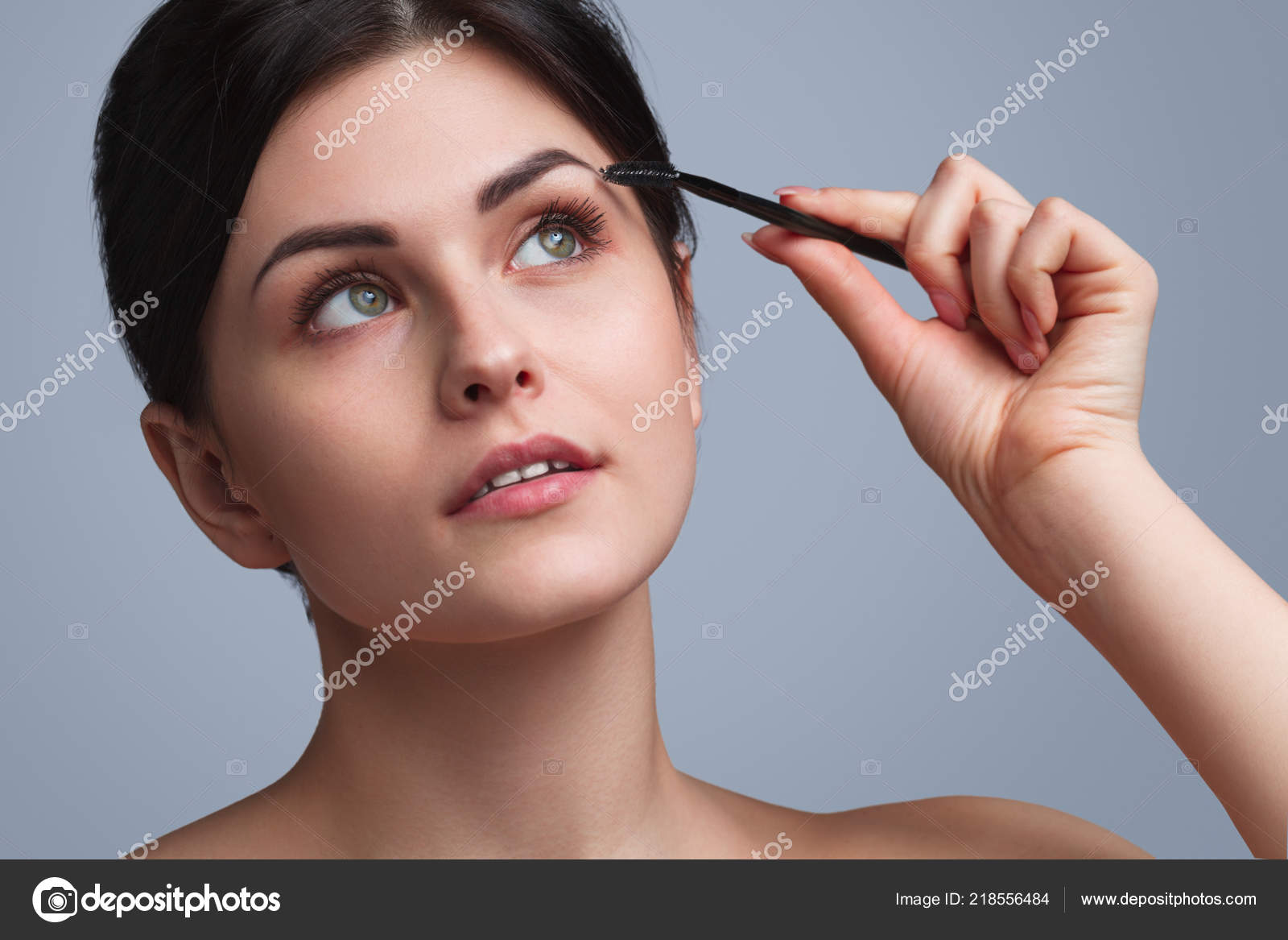 Young Brunette Coloring Eyebrows Stock Photo Kegfire 218556484