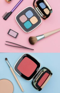 Assortment makeup accessories and compacts of decorative cosmetics placed on pink and blue background as illustration for fashion article stock vector