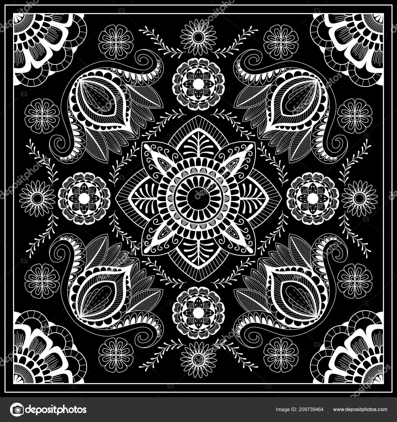 d694415c Blanco Negro Abstracto Bandana Impresión Con Estilo Elemento Henna ...