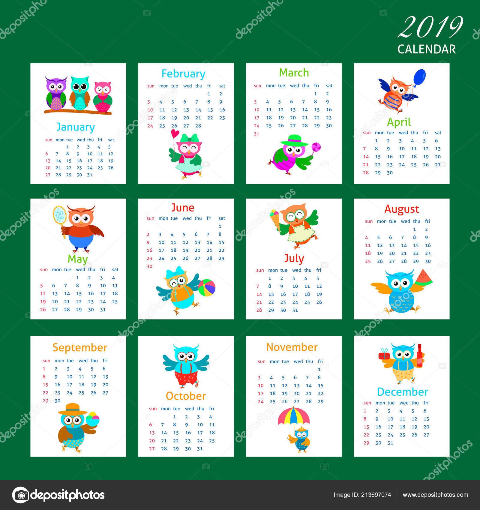 Calendario Dibujo 2019.Diseno Dibujos Animados Buho Calendario 2019 Vector De