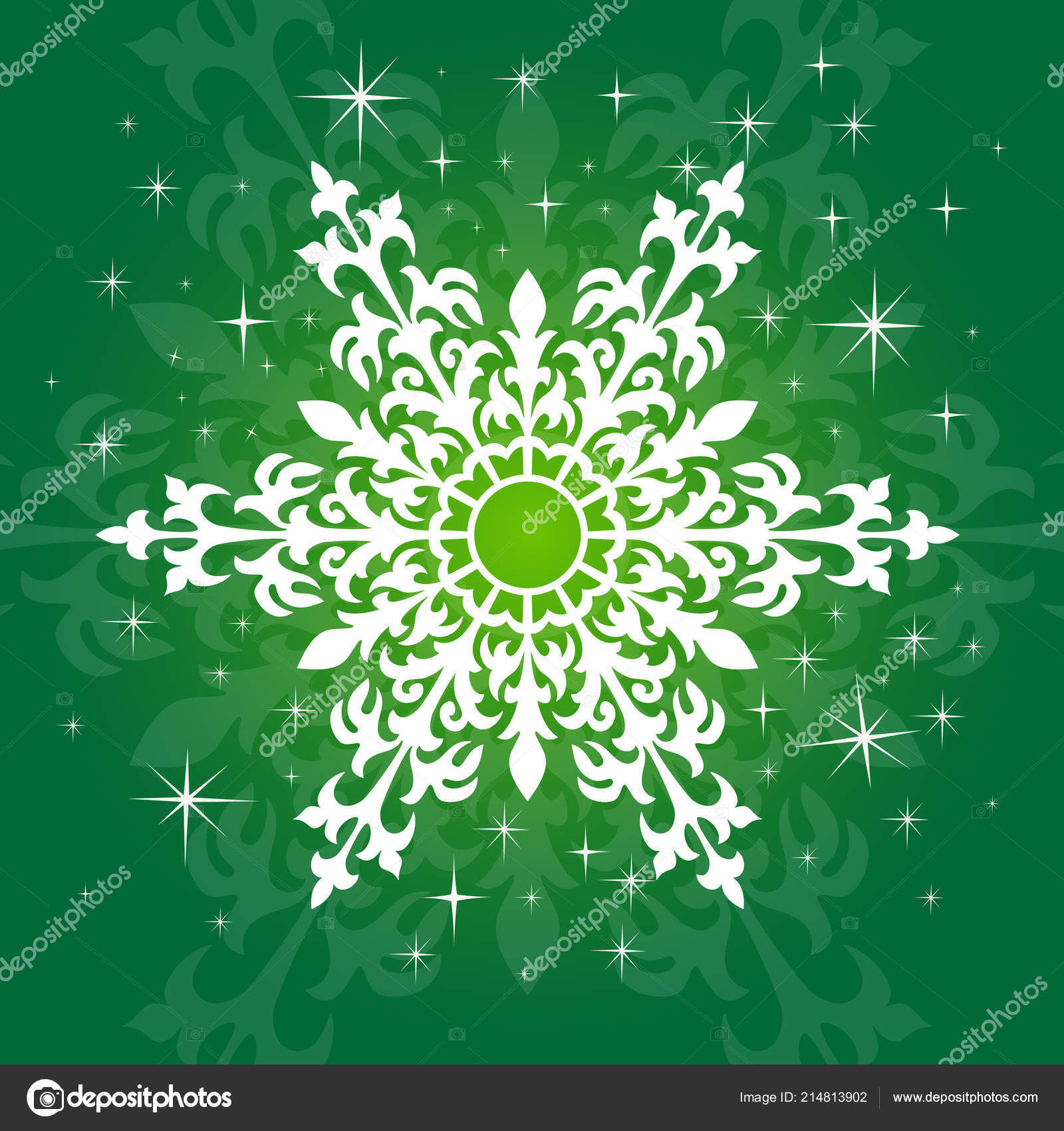 cute lacy snowflake green background template christmas new year holidays stock vector
