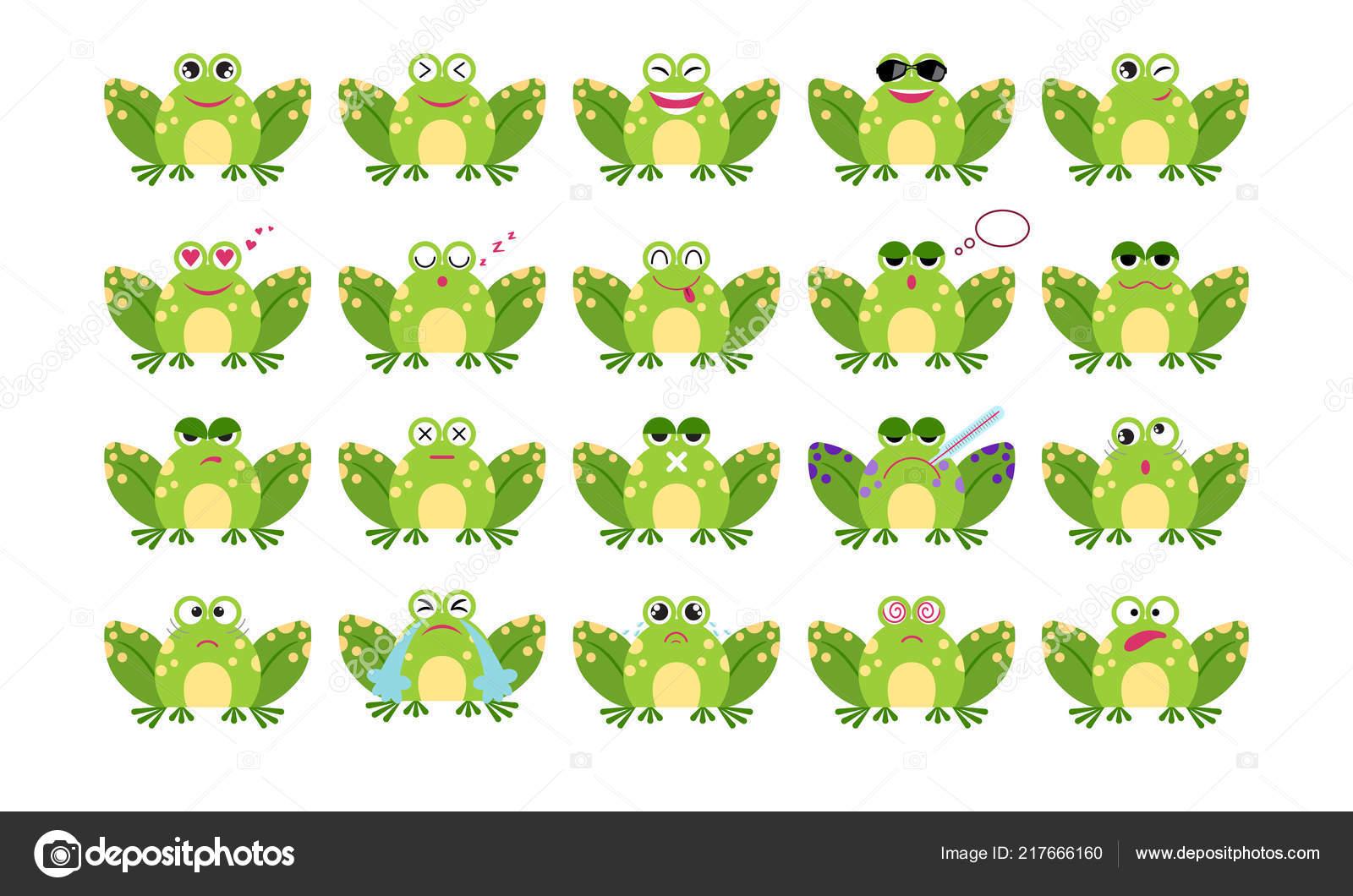 Conjunto Emoticon Sapo Engraçado Dos Desenhos Animados