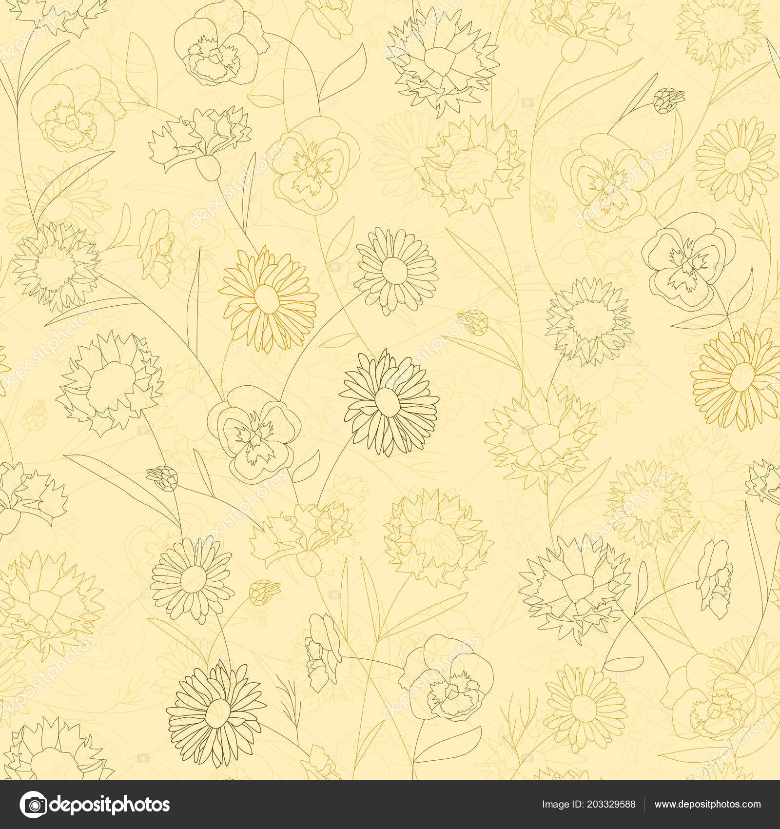 Floral seamless pattern with wild flowers. Illustration in vintage ...
