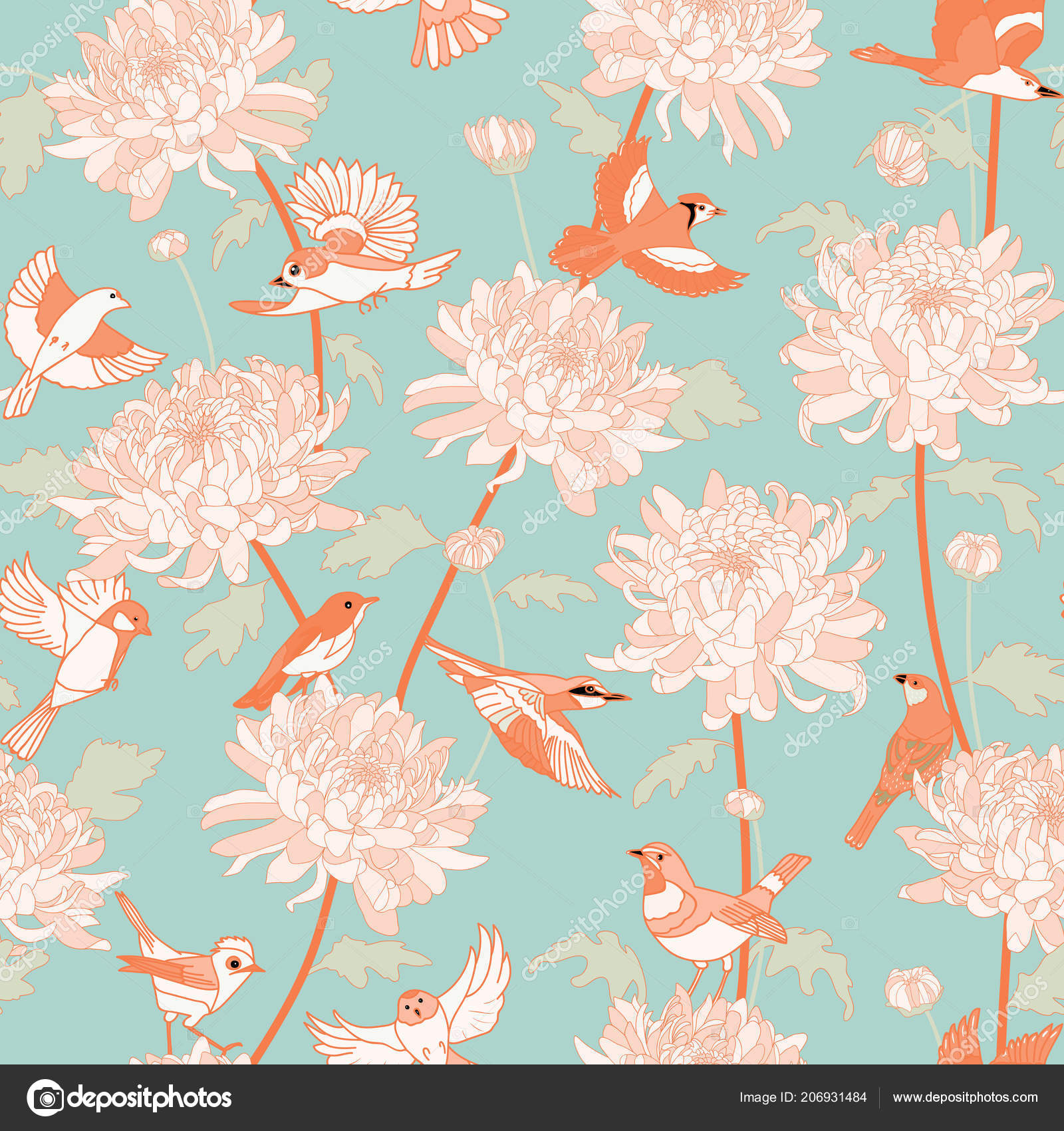 Floral Background Birds Chrysanthemums Vintage Pattern Japanese
