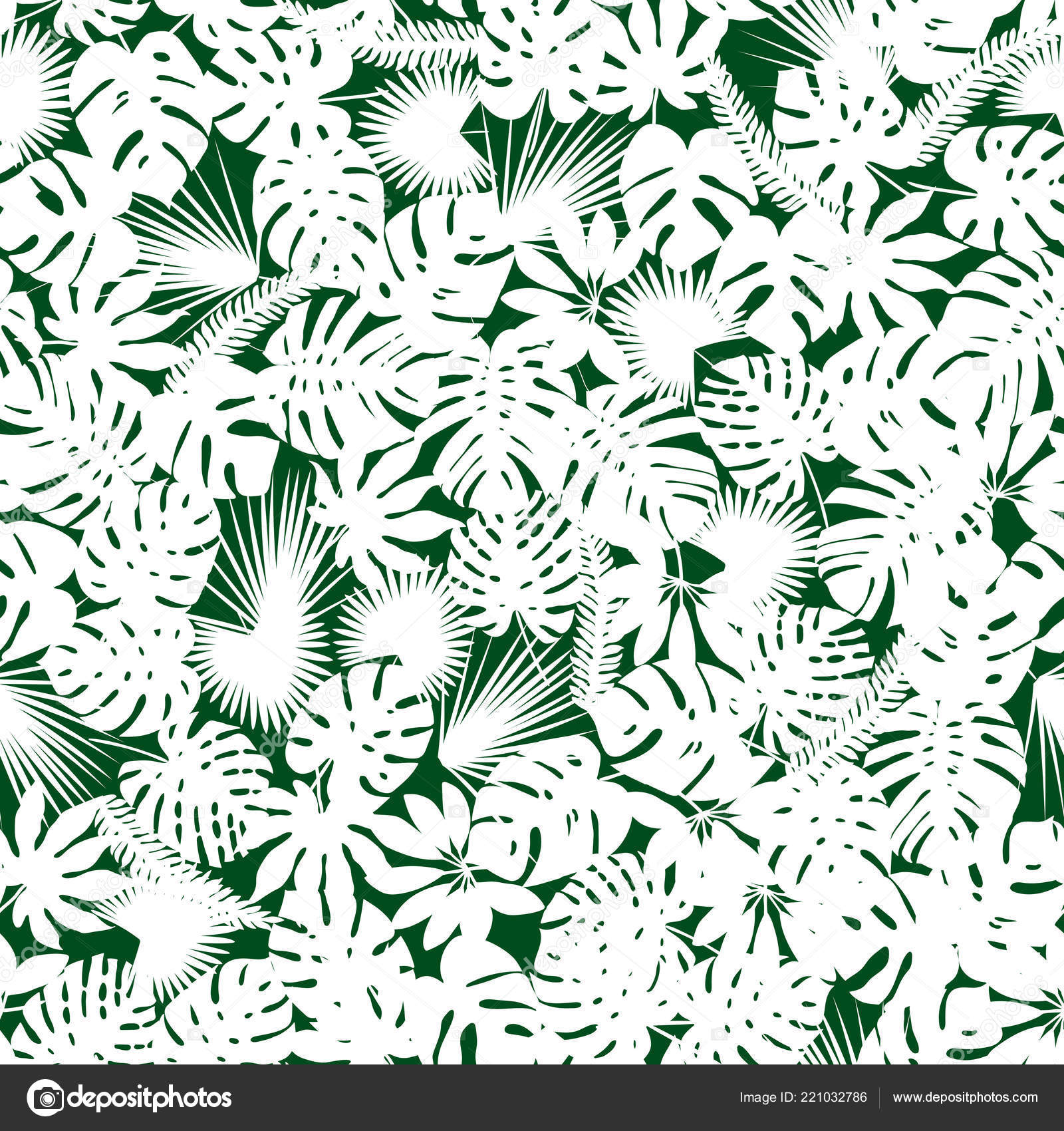 Palm And Monstera Leaves Silhouettes Background Vector Seamless Pattern With Tropical Plants Jungle Foliage Illustration Green White By