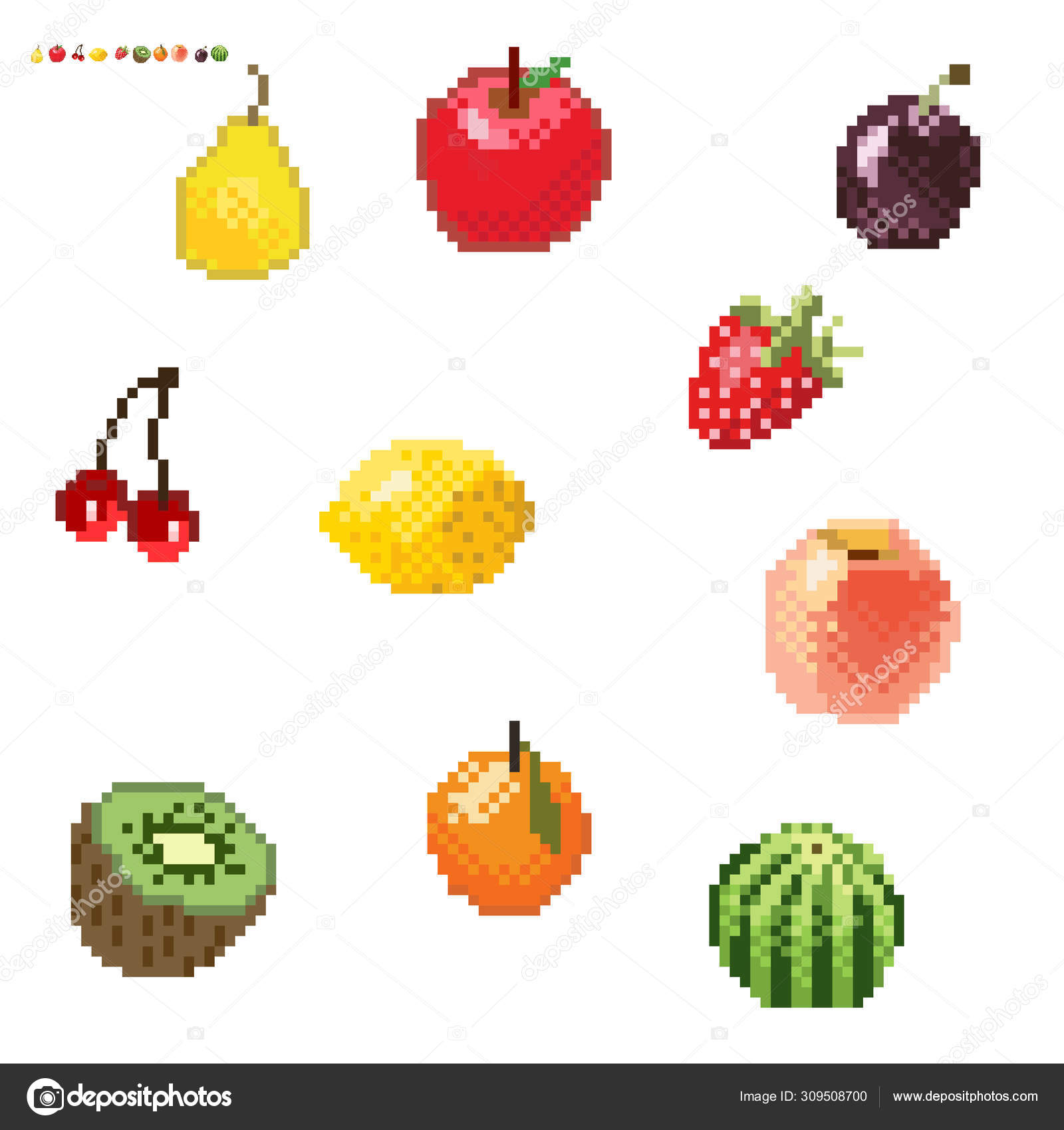 Set Of Minimalistic Pixel Art Vector Fruits Isolatedgame 8