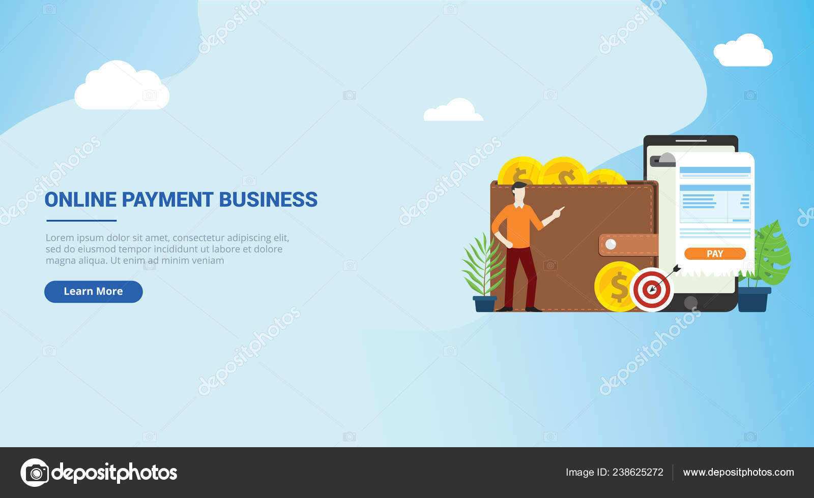 Website Design Landing Page Mobile Online Payment Technology