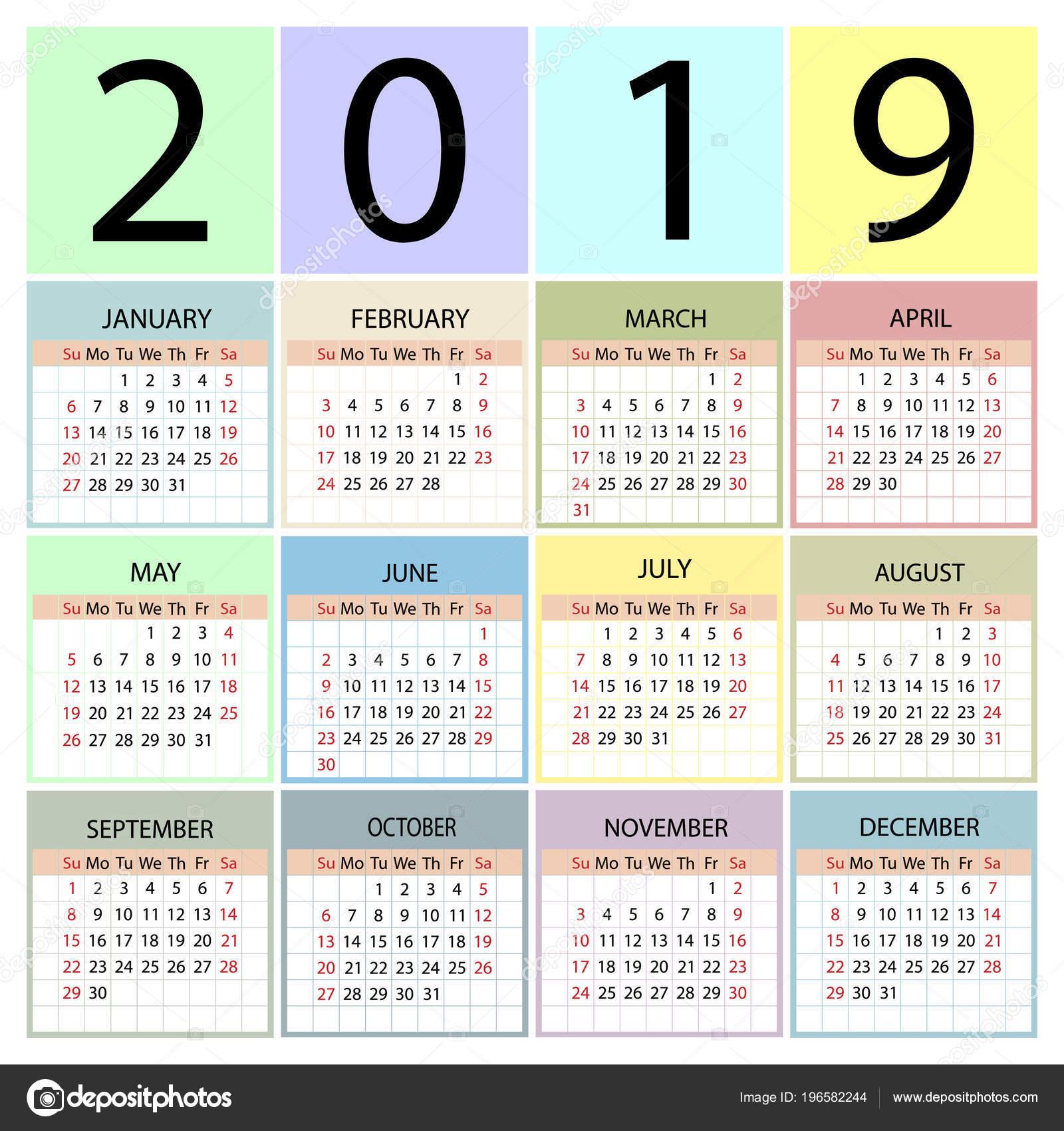 jaar kalender 2019 week begint met zondag stockvector. Black Bedroom Furniture Sets. Home Design Ideas