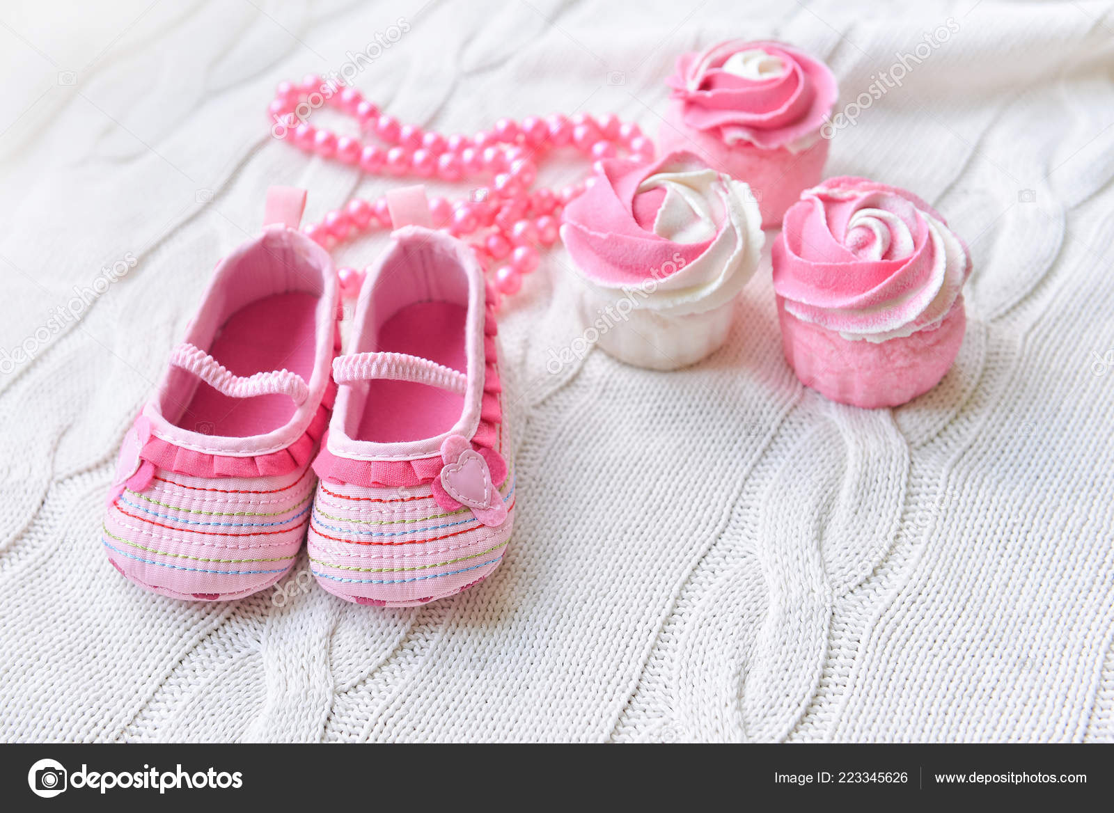 536f3111b3669 baby shoes, decor for baby shower holiday for girls — Stock Photo ...