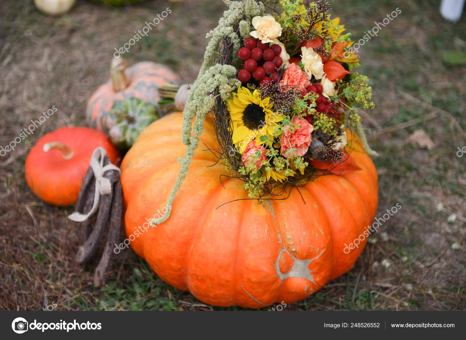 Autumn Floral Bouquet Pumpkin Vase For Halloween Table Setting And Floral Decor For A Rustic Wedding Stock Photo C Olgachan 248526552