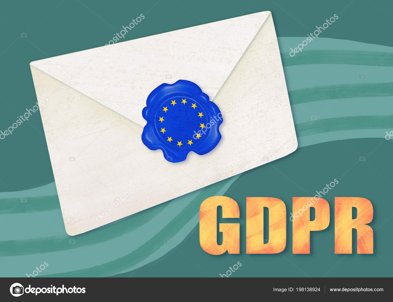 Gdpr Concept Illustration Sealed Letter European Stars Seal General