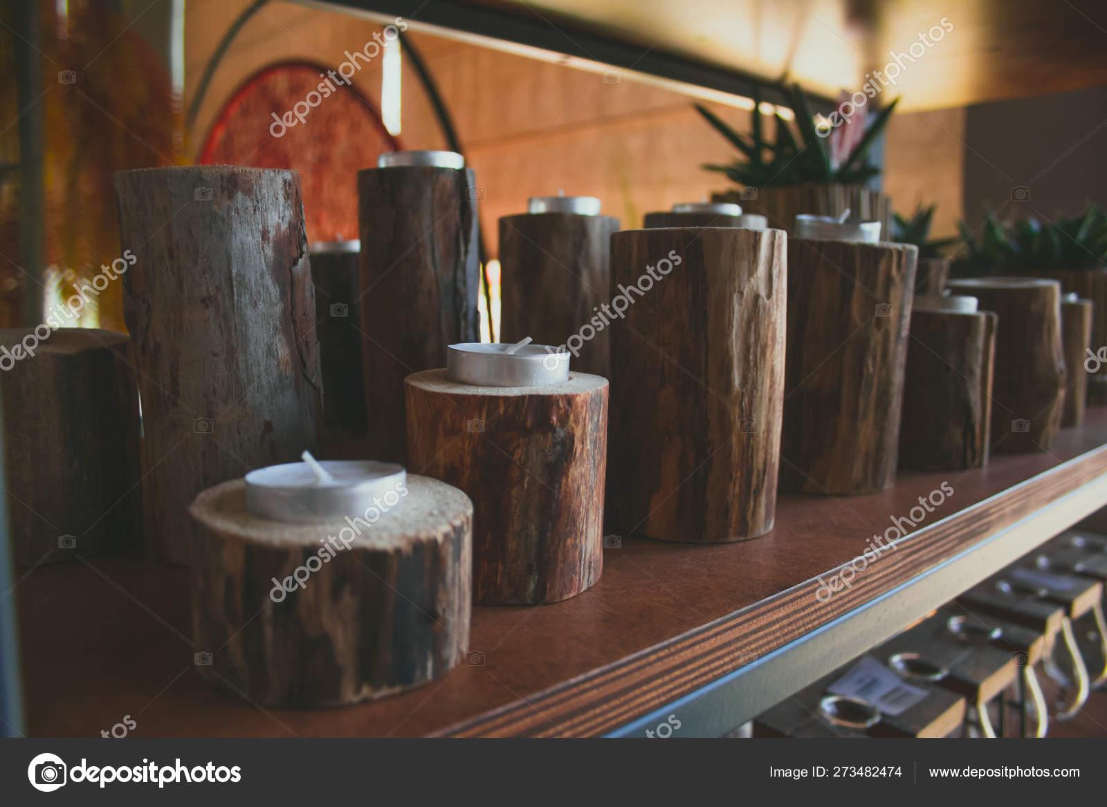 Shelf Candles Wooden Candlesticks Cozy Home Rustic Decor