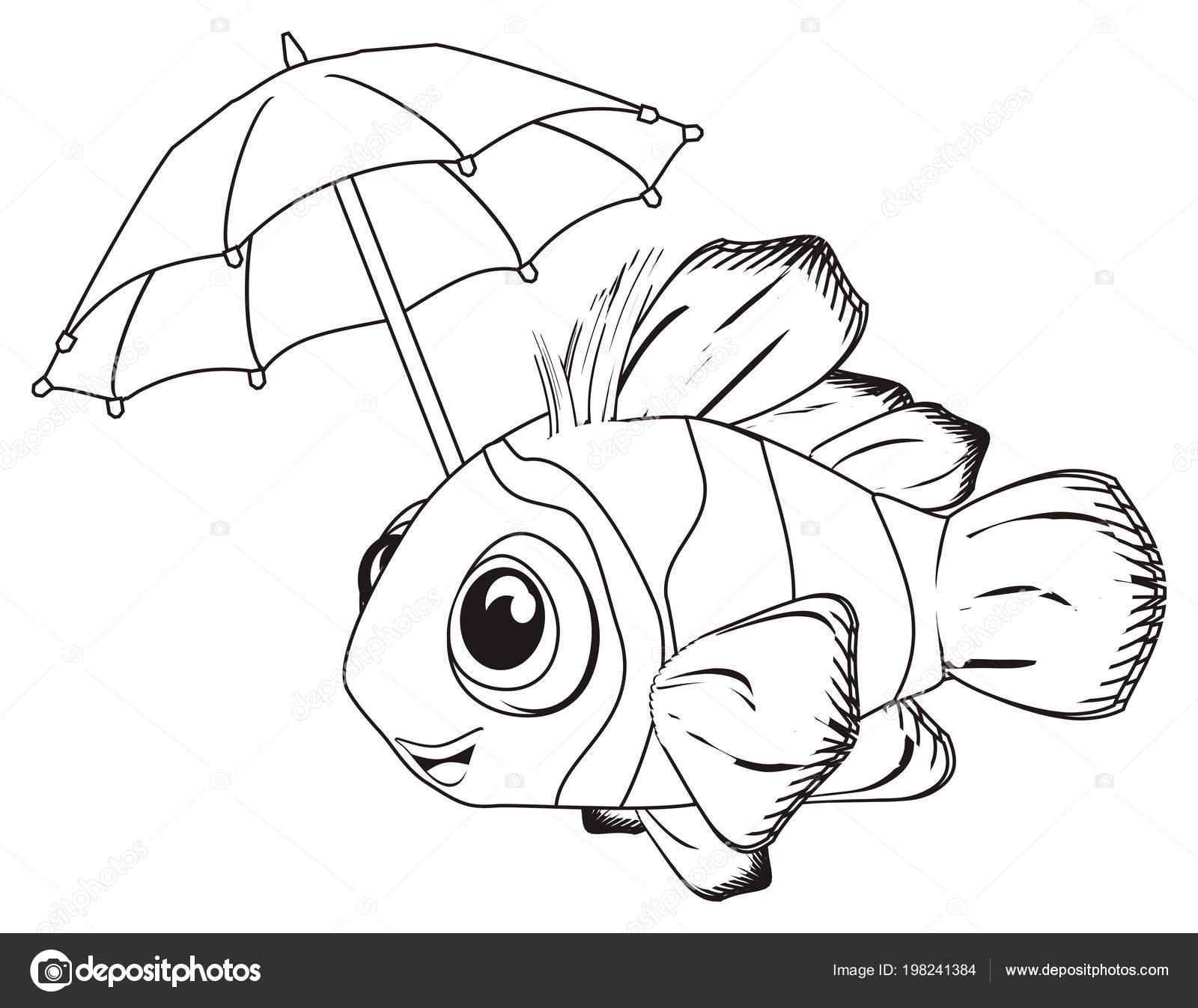 Smling Boyama Palyaço Balığı Tutmak Bir şemsiye Stok Foto