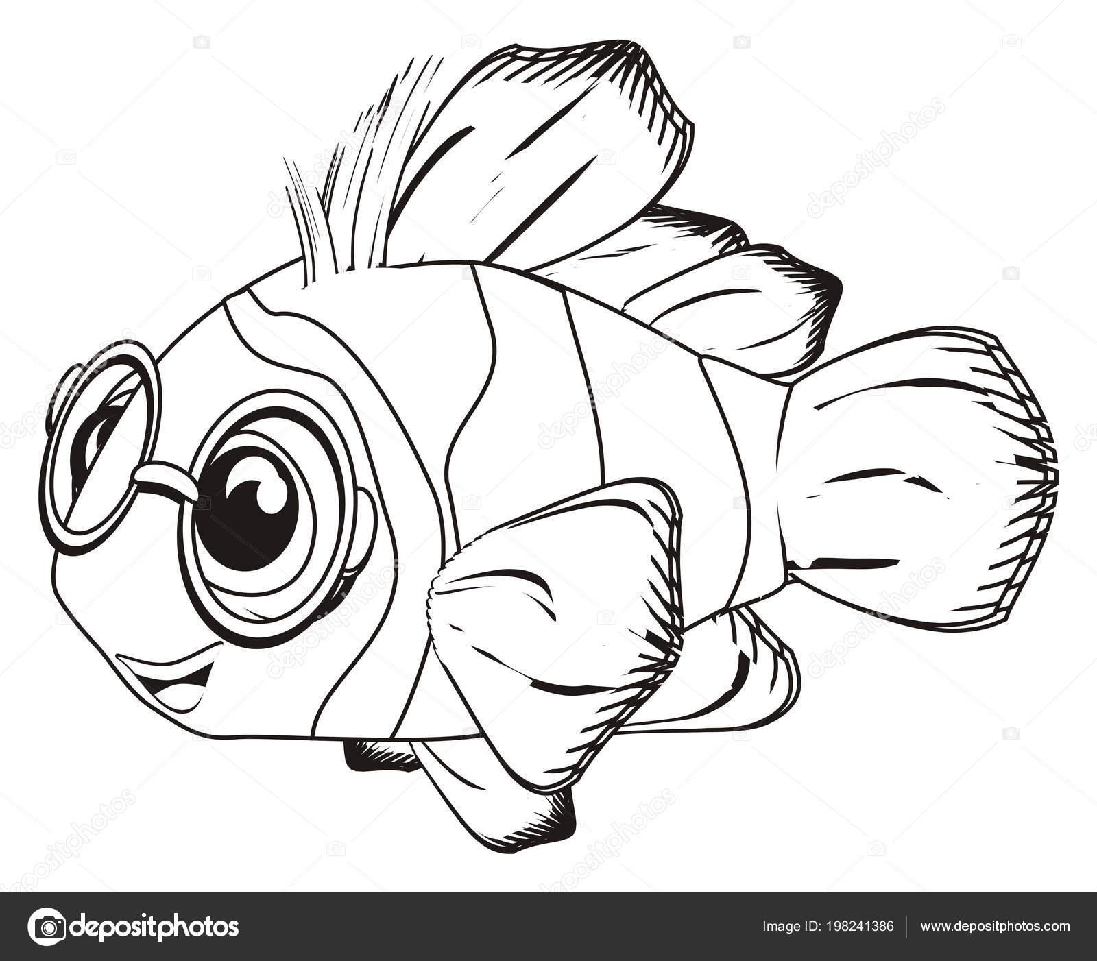 Yuvarlak Gözlük Mutlu Palyaço Balığı Boyama Stok Foto