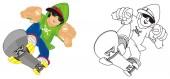 barevné a zbarvení chlapce jezdit na bruslích