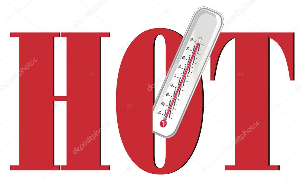 thermometer peek up from large red word hot