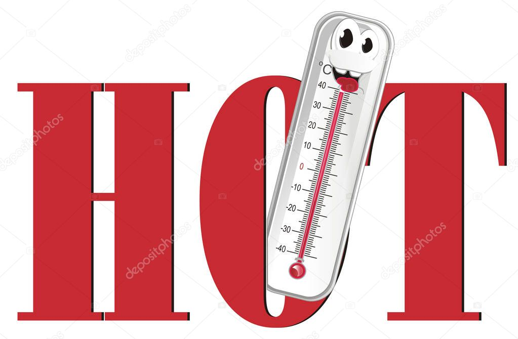 smiling thermometer peek up from word hot