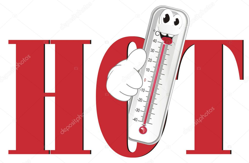 happy thermometer show gesture and peek up from word