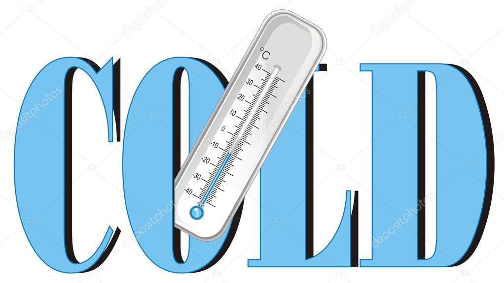 thermometer peek up from word cold