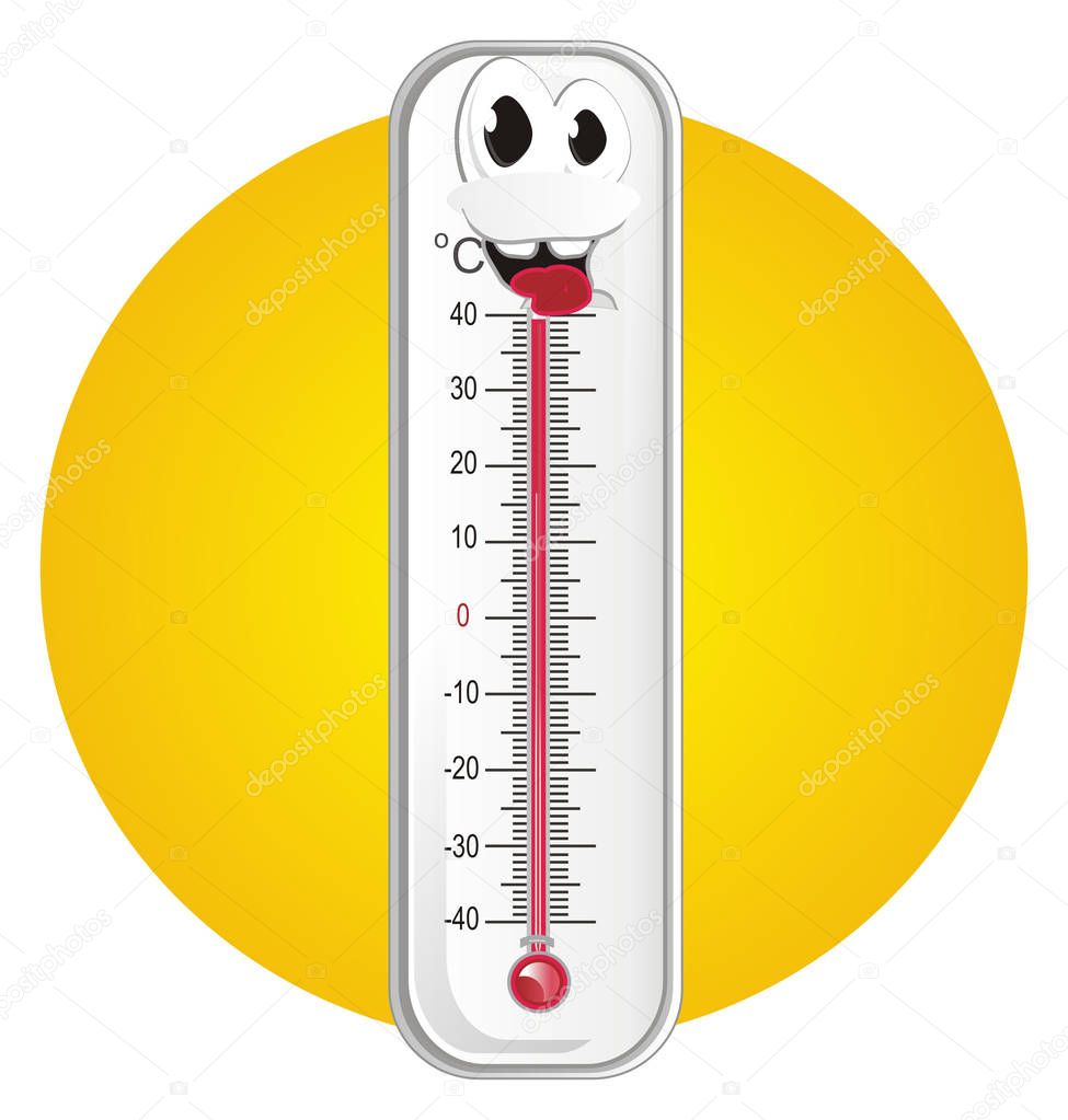 happy thermometer and red sun