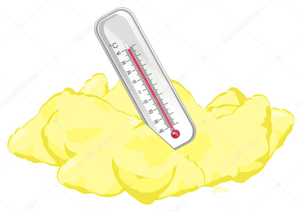 summer and thermometer on the sand