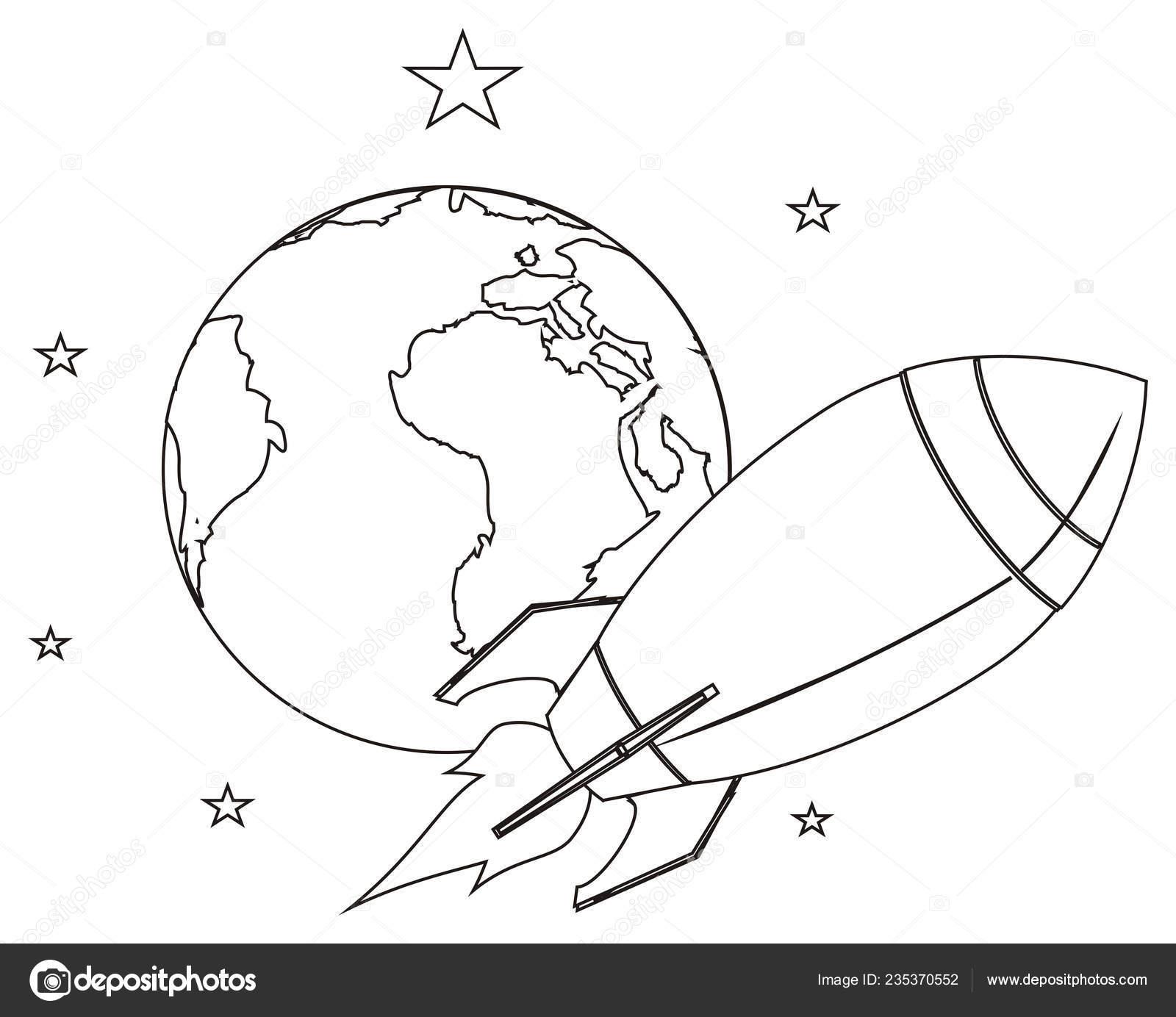 Dünya Yıldız Ile Boyama Uçan Roket Stok Foto
