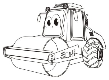 coloring funny road roller stand