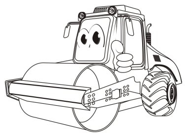 coloring funny road roller with gesture