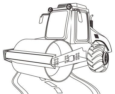 coloring road roller stand on asphalt