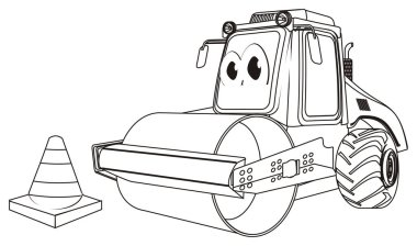 coloring funny road roller with cone