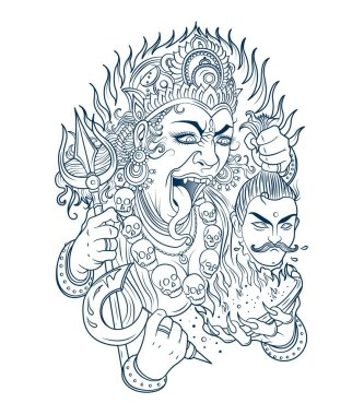 Indian Hindi goddess Kali. Vector illustration. stock vector