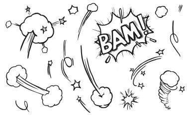 Comic explosion element. Hand drawn comic book element isolated vector icon set. Sketch sign burst cloud, mem expression speech, bubble bam label illustration. Bomb explosion effect symbol pack icon