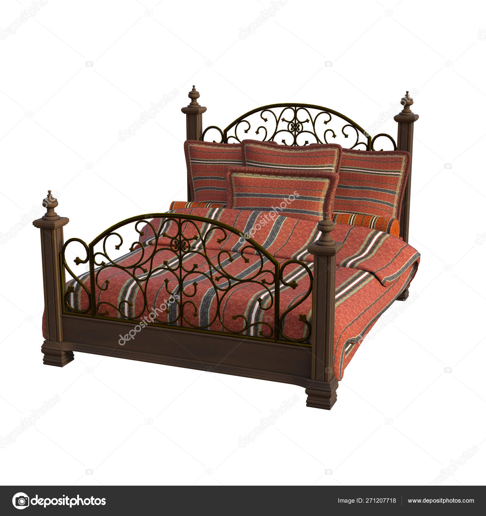 View Carved Wooden Bed Two White Background Stock Photo C Kaselmeyk 271207718
