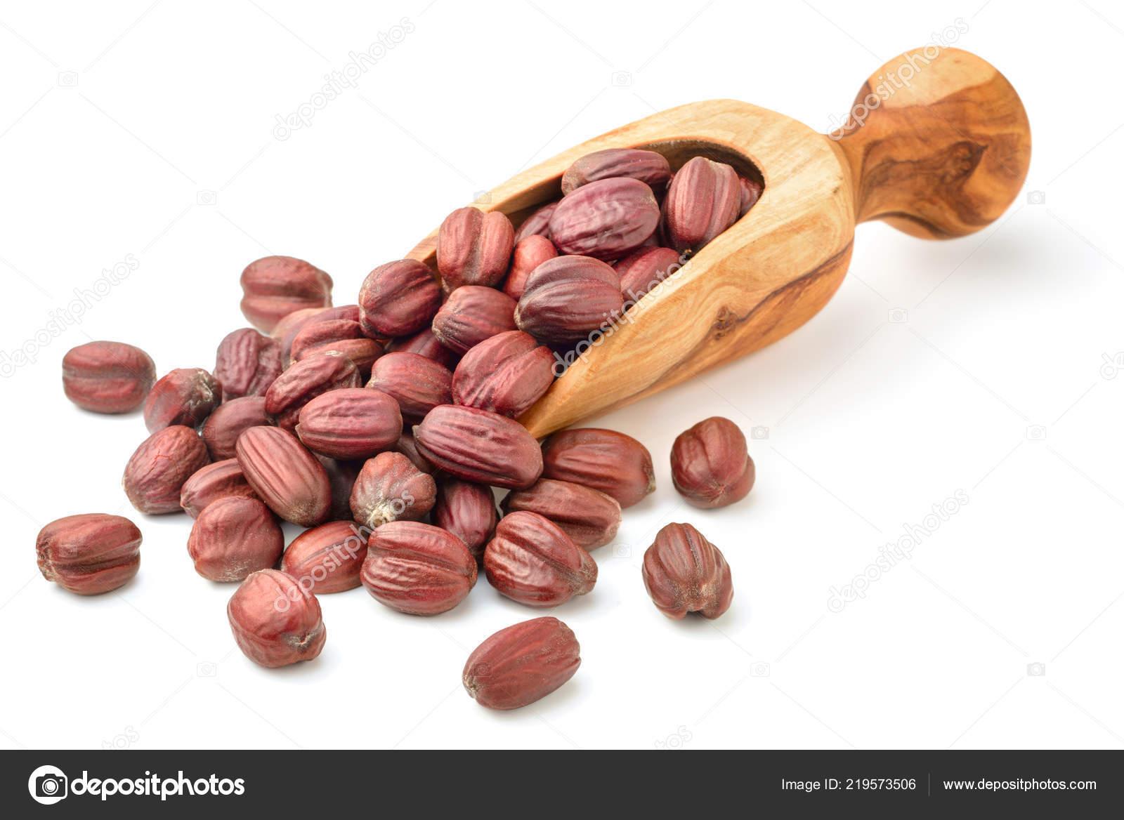 Jojoba Seeds Olive Wood Spoon Isolated White Background — Stock